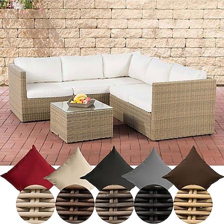 CLP Poly-Rattan Lounge-Set Genero 5 MM l Garten-Set Mit 5 Sitzplätzen l Komplett-Set: 3er Sofa + 2er Sofa + Tisch... natura, Cremeweiß - Bild 1