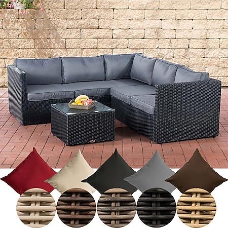 CLP Poly-Rattan Lounge-Set Genero 5 MM l Garten-Set Mit 5 Sitzplätzen l Komplett-Set: 3er Sofa + 2er Sofa + Tisch... schwarz, Eisengrau - Bild 1