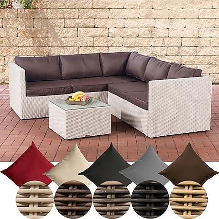 CLP Poly-Rattan Lounge-Set Genero 5 MM l Garten-Set Mit 5 Sitzplätzen l Komplett-Set: 3er Sofa + 2er Sofa + Tisch... perlweiß, Terrabraun - Bild 1
