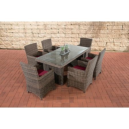 CLP Polyrattan Sitzgruppe Fontana Mit Polsterauflagen | Garten-Set: 1 Esstisch Mit Glasplatte und 6 Stühle... braun-meliert, Rubinrot - Bild 1