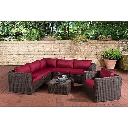 CLP Polyrattan Gartengarnitur MARBELLA | Sitzgruppe mit 6 Sitzplätzen | Gartenmöbel-Set: ein Ecksofa, ein Sessel und ein Beistelltisch... braun-meliert, Rubinrot - Bild 1