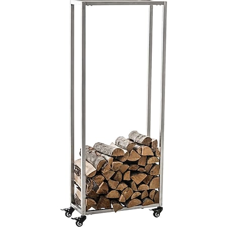 CLP Kaminholzständer HETTA, Brennholzständer, Kamin-Holzregal, Holzlager, Kamin-Holzhalter, Holzbutler,... edelstahl, 25x40x100 cm - Bild 1