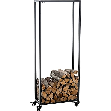 CLP Kaminholzständer HETTA, Brennholzständer, Kamin-Holzregal, Holzlager, Kamin-Holzhalter, Holzbutler,... schwarz, 25x60x100 cm - Bild 1