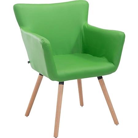 CLP Esszimmerstuhl ANTWERPEN mit hochwertiger Polsterung und Kunstlederbezug I Konferenzstuhl mit Holzgestell und Bodenschonern... grün, Natura - Bild 1