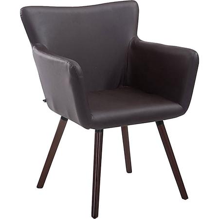 CLP Esszimmerstuhl ANTWERPEN mit hochwertiger Polsterung und Kunstlederbezug I Konferenzstuhl mit Holzgestell und Bodenschonern... braun, Walnuss - Bild 1
