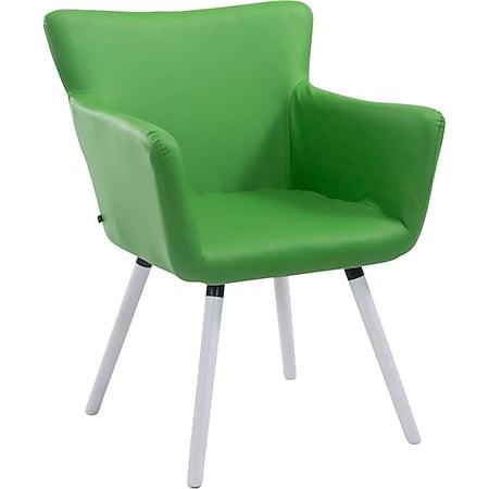 CLP Esszimmerstuhl ANTWERPEN mit hochwertiger Polsterung und Kunstlederbezug I Konferenzstuhl mit Holzgestell und Bodenschonern... grün, Weiß - Bild 1