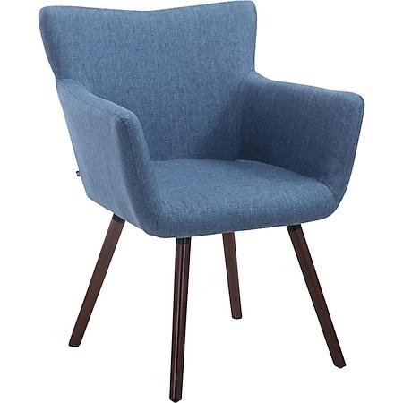 CLP Esszimmerstuhl ANTWERPEN mit hochwertiger Polsterung und Stoffbezug I Konferenzstuhl mit Holzgestell und Bodenschonern... blau, Walnuss - Bild 1