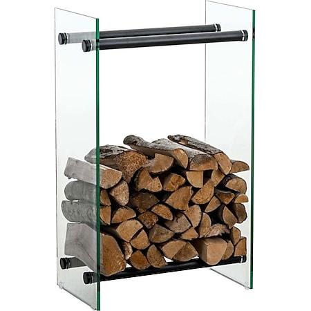 CLP Kaminholzregal / Kaminholzständer DACIO aus Klarglas I stabile Konstruktion I Holzlager I modernes Glasregal mit Bodenschonern... klarglas, 35x40x80 cm - Bild 1