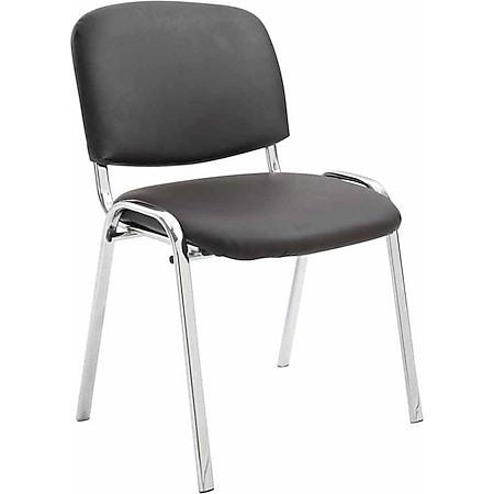 CLP Konferenzstuhl KEN CHROM mit hochwertiger Polsterung und Kunstlederbezug I Stapelstuhl mit robustem Metallgestell in Chromoptik... braun - Bild 1
