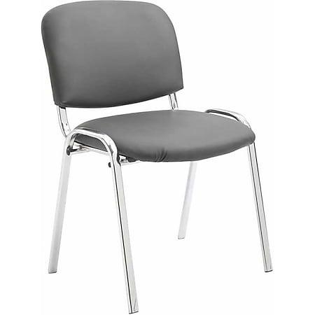 CLP Konferenzstuhl KEN CHROM mit hochwertiger Polsterung und Kunstlederbezug I Stapelstuhl mit robustem Metallgestell in Chromoptik... grau - Bild 1
