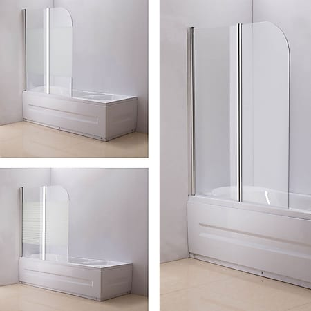 CLP NANO Duschabtrennung für die Badewanne Anschlag links | Faltbarer Badewannenaufsatz aus Sicherheisglas | 2 teilige Duschwand... milchglas-gestreift - Bild 1