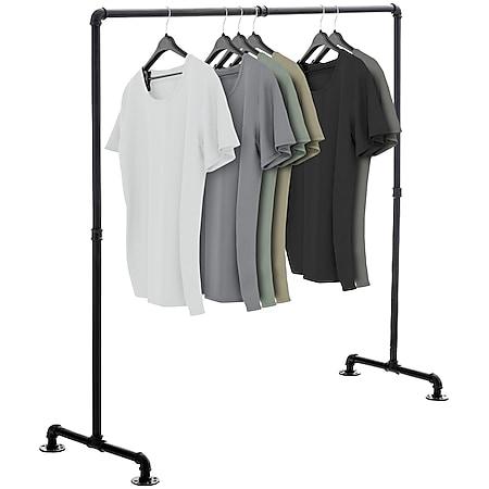CLP Kleiderständer JERSEY aus Metall im angesagten Industrial Design | Höhe ca. 150 cm | Breite 120-150 cm... schwarz, 150 cm - Bild 1