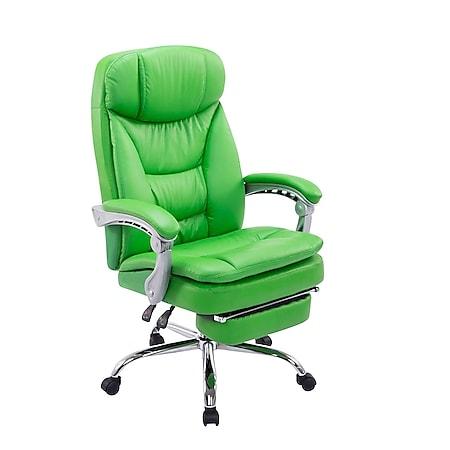 CLP XL Bürostuhl Troy   Relaxsessel Mit Kunstlederbezug Und Armlehnen   Höhenverstellbarer Chefsessel Mit Ausziehbarer Fußablage... grün - Bild 1
