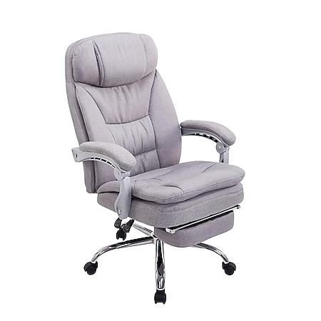 CLP XL Bürostuhl TROY mit Armlehne, Stoff-Bezug, Relaxsessel mit Fußstütze ausziehbar, Chefsessel, Belastbarkeit bis 160 kg,... grau - Bild 1