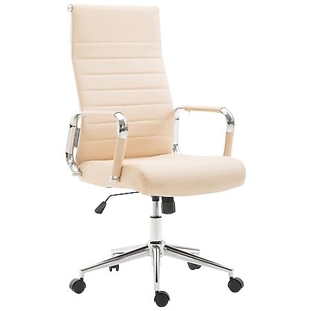 CLP Drehstuhl KOLUMBUS mit Kunstlederbezug I Chefsessel mit stufenloser Sitzhöhenverstellung I Bürosessel mit Laufrollen... creme - Bild 1
