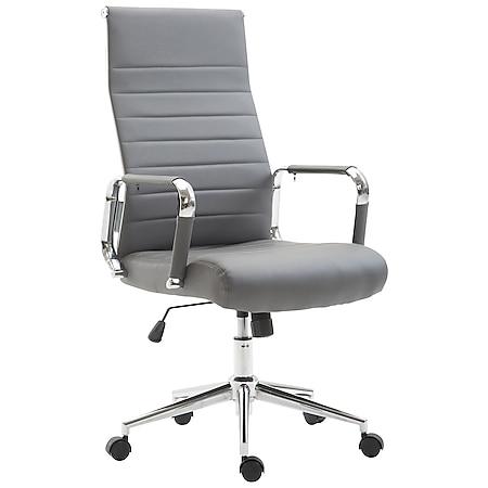 CLP Drehstuhl KOLUMBUS mit Kunstlederbezug I Chefsessel mit stufenloser Sitzhöhenverstellung I Bürosessel mit Laufrollen... grau - Bild 1