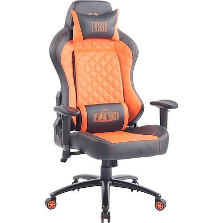 CLP Bürostuhl RAPID mit Kunstlederbezug I Schreibtischstuhl mit verstellbaren Armlehnen I Drehstuhl mit hochwertiger Polsterung... schwarz/orange - Bild 1