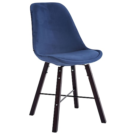 CLP Besucherstuhl Laffont Samt Mit Hochwertigem Sitzpolster I Lehnstuhl Mit Stabilem Holzgestell I Sitzhöhe 48 cm... blau, Cappuccino - Bild 1
