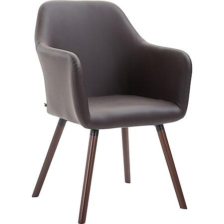CLP Esszimmerstuhl PICARD V2 mit hochwertiger Polsterung und Kunstlederbezug I Retrostuhl mit sesselförmigem Sitz und Holzgestell... braun, Walnuss - Bild 1
