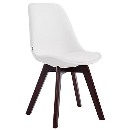 CLP Esszimmerstuhl MANADO mit Kunstlederbezug   Lehnstuhl mit Holzgestell   Polsterstuhl in verschiedenen Farben erhältlich   Sitzhöhe 47 cm... weiß, Walnuss - Bild 1