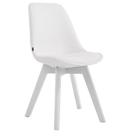 CLP Esszimmerstuhl MANADO mit Kunstlederbezug   Lehnstuhl mit Holzgestell   Polsterstuhl in verschiedenen Farben erhältlich   Sitzhöhe 47 cm... weiß, Weiß - Bild 1
