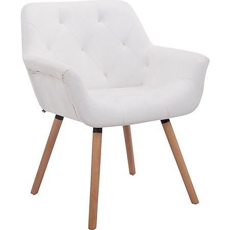 CLP Esszimmerstuhl CASSIDY mit Kunstlederbezug und sesselförmigem Sitz I Retrostuhl mit Armlehne... weiß, Natura (eiche) - Bild 1