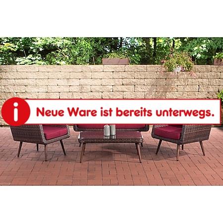 CLP Polyrattan Loungeset TROSA I Braun-meliert I Gartenlounge Flachrattan I Sofa & 2x Sessel & Glastisch I 1,25mm Rattandicke... rubinrot, 40 cm (darkbrown) - Bild 1