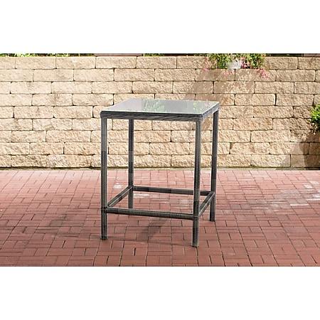 CLP Polyrattan Tisch Alia 5mm I Gartentisch Rundrattan I Bartisch Mit Glasplatte I Gartenmöbel... grau-meliert - Bild 1