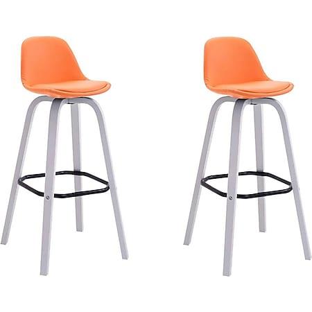 CLP 2er Set Barhocker Avika Mit Kunstlederbezug I 2 x Barstuhl Mit Holzgestell Und Rückenlehne... orange, Weiß - Bild 1