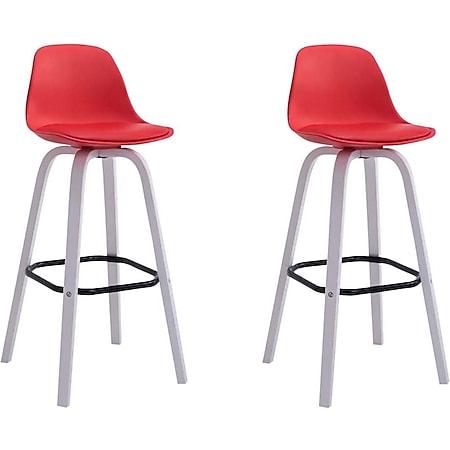 CLP 2er Set Barhocker Avika Mit Kunststoff-Sitzschale Und Sitzpolster Aus Kunstleder I 2 x Barstuhl Mit Holzgestell... rot, Weiß - Bild 1