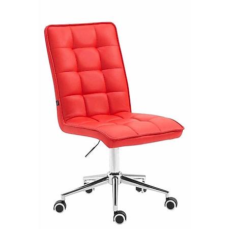 CLP Arbeitshocker PEKING V2 mit Kunstlederbezug | Schreibtischstuhl mit Leichtlaufrollen | Höhenverstellbarer Drehstuhl... rot - Bild 1