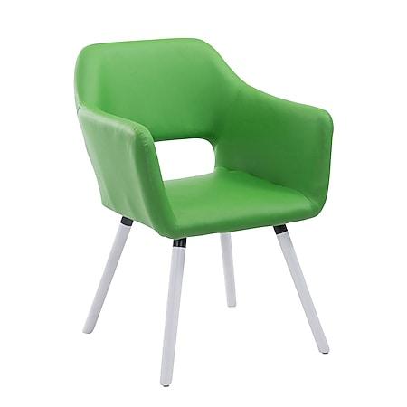 CLP Esszimmerstuhl AUCKLAND mit hochwertiger Polsterung und Kunstlederbezug I Warteraumstuhl mit Holzgestell und Armlehne... grün, Weiß (eiche) - Bild 1