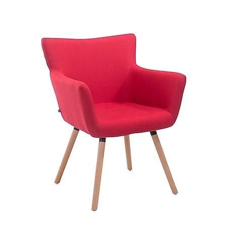 CLP Esszimmerstuhl ANTWERPEN mit hochwertiger Polsterung und Stoffbezug I Konferenzstuhl mit Holzgestell und Bodenschonern... rot, Natura (eiche) - Bild 1