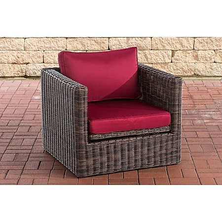 CLP Polyrattan Sessel Tibera 5mm I Gartensessel Aus Rundrattan I Loungesessel Mit Aluminiumgestell Inkl. Kissen... braun-meliert, Rubinrot - Bild 1