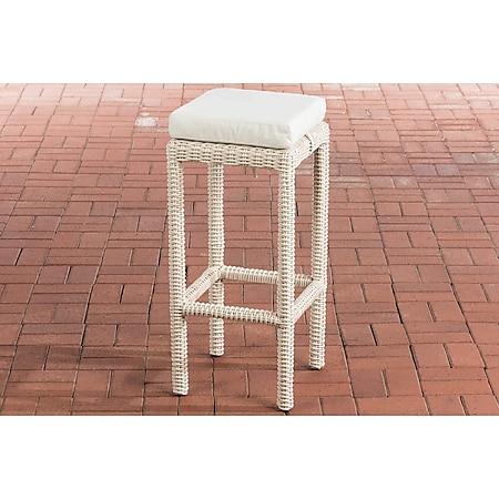 CLP Polyrattan Garten Barhocker Alia 5mm I Rundrattan Barstuhl Inkl. Sitzkissen I Sitzhöhe 75 cm, Sitzfläche 37 x 37 cm... perlweiß, Cremeweiß - Bild 1