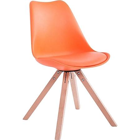 CLP Retro-Stuhl Toulouse Square Mit Kunstlederbezug | Kunstoff-Lehnstuhl Mit Holzgestell | In Verschiedenen Farben... orange, Natura (eiche) - Bild 1