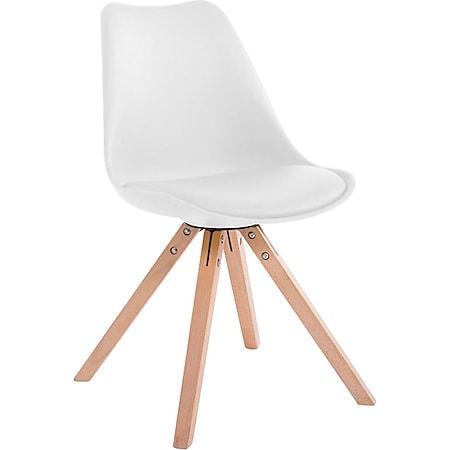 CLP Retro-Stuhl Toulouse Square Mit Kunstlederbezug | Kunstoff-Lehnstuhl Mit Holzgestell | In Verschiedenen Farben... weiß, Natura (eiche) - Bild 1