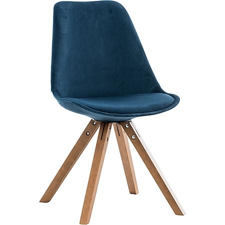 CLP Besucherstuhl Pegleg Mit Samtbezug I Gepolsterter Schalenstuhl Mit Eckigen Holzbeinen I Sitzhöhe: 46 cm... blau, Walnuss - Bild 1