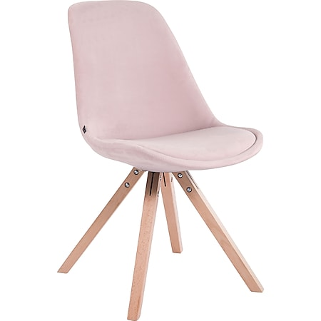 CLP Retrostuhl Toulouse Samt Square Mit Hochwertigem Sitzpolster I Lehnstuhl Mit Stabilem Holzgestell I Sitzhöhe 48 cm... pink, Natura - Bild 1