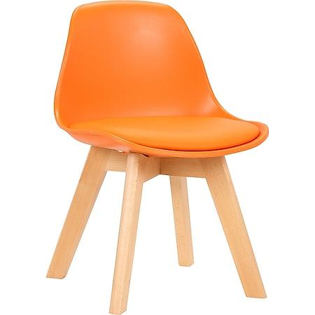 CLP Kinderstuhl Lindi Kunststoff I Polsterstuhl Mit Kunstlederbezug I Kunststoffstuhl Für Kinder I Stuhl Mit Buchenholz Gestell... orange - Bild 1