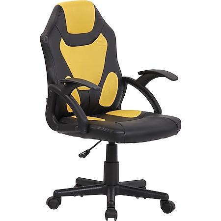 CLP Kinder Bürostuhl Dano I Höhenverstellbarer Schreibtischstuhl Mit Armlehnen I Mix aus Kunstleder Und Netzbezug... schwarz/gelb - Bild 1