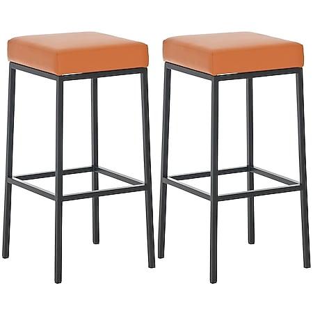 CLP 2er Set Barhocker Montreal mit robustem Metallgestell I Tresenhocker mit Kunstlederbezug I Thekenhocker I Sitzhöhe 80 cm... orange, Schwarz - Bild 1