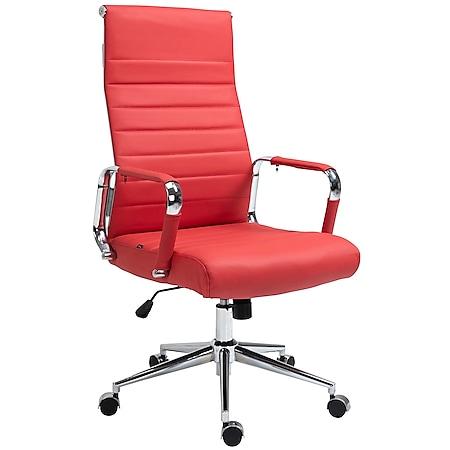 CLP Drehstuhl Kolumbus Echtleder I Chefsessel Mit Stufenloser Sitzhöhenverstellung I Bürosessel Mit Leichtlaufrollen... rot - Bild 1