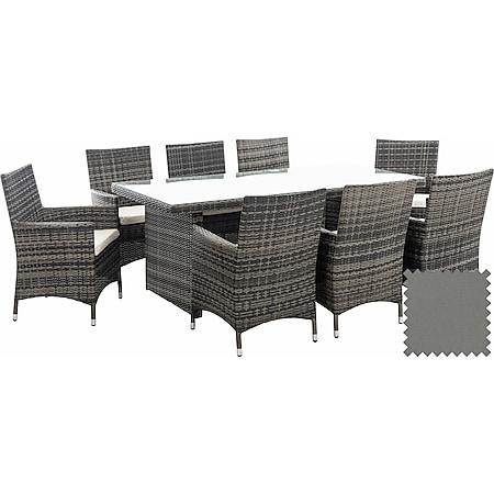CLP Polyrattan-Sitzgruppe Avignon Big | Garten-Set Mit 8 Sitzplätzen | Komplett-Set: 1x Tisch Und 8 Gartenstühle Mit Sitzkissen... grau-meliert, Eisengrau - Bild 1