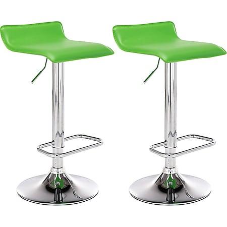 CLP 2er Set Barhocker Dyn Mit Kunstlederbezug I 2 x Höhenverstellbarer Und Drehbarer Tresenhocker Mit Fußstütze... grün - Bild 1