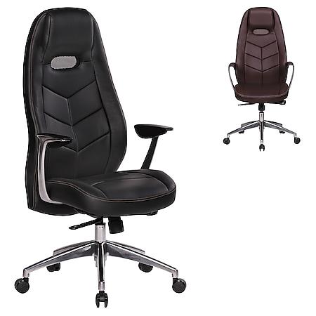 AMSTYLE Bürostuhl BARI Echtleder Schreibtischstuhl Chefsessel Synchronmechanik Drehstuhl - Bild 1