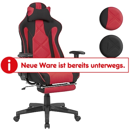 AMSTYLE Gaming-Schreibtischstuhl Stoff Drehstuhl bis 120 kg Bürostuhl mit hoher Rückenlehne & ausziehbarer Fußstütze - Bild 1