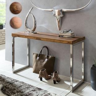 Wohnling Konsolentisch GUNA Massivholz Konsole mit Metallbeinen 120x45 cm Schreibtisch Echtholz Massiv