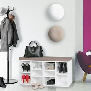 Wohnling Schuhbank mit Sitzauflage LAURA Flurbank 103,5x53x30 cm Sitzbank mit Regalfächer Garderobenbank