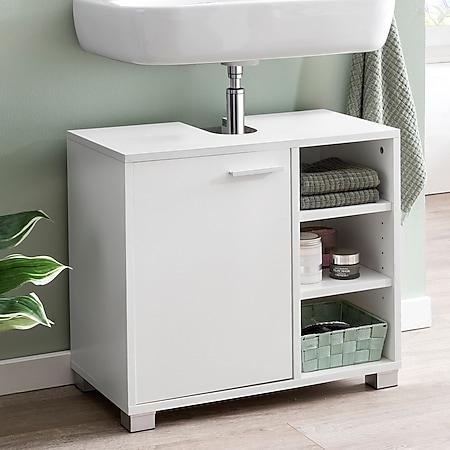 Wohnling Waschbeckenunterschrank WL5.341 60x55x32cm Weiß Waschtischunterschrank Badezimmerschrank Bad-Möbel - Bild 1